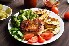 Grilled meat with vegetables Royalty Free Stock Image