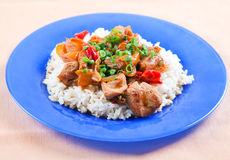 Grilled meat with vegetables and rice Royalty Free Stock Photo