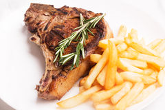 Grilled meat with vegetables and rosemary Royalty Free Stock Photo