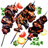 Grilled meat and vegetables, watercolor Stock Photography