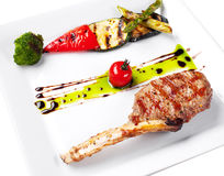 Grilled meat and vegetables. Royalty Free Stock Photography
