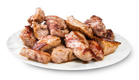 Grilled Meat On A White Plate Stock Images