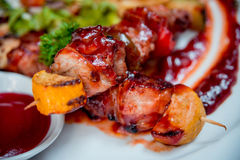 Grilled meat on the white plate Stock Photo