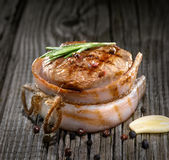 Grilled meat on wood Stock Photography