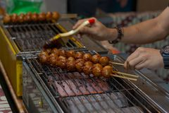 Grilled meatball. Delicious grilled meatball with spicy seasoning royalty free stock photo