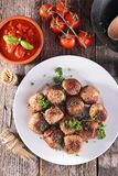 Grilled meatball and herbs Royalty Free Stock Images