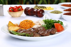 Grilled meatball. Grilled Turkish meatball on plate Royalty Free Stock Photos