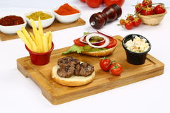 Grilled meatball. Grilled Turkish meatball on plate Royalty Free Stock Photography