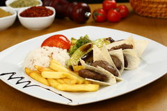 Grilled meatball. Grilled Turkish meatball on plate Stock Images