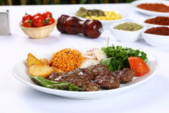 Grilled meatball. Grilled Turkish meatball on white dinner table Stock Image