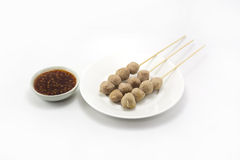 Grilled Meatballs That Is Delicious And Cheap Stock Photo - Image ...