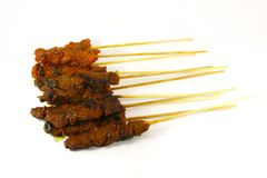 Grilled Meats Skewered on Bamboo Sticks royalty free stock photo