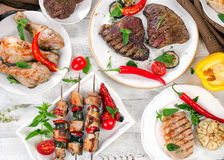Grilled meats and vegetables Stock Photography