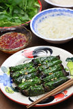 Grilled minced beef wrapped in betel leaf, vietnamese cuisine Royalty Free Stock Photos