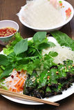 Grilled minced beef wrapped in betel leaf, vietnamese cuisine Stock Photography