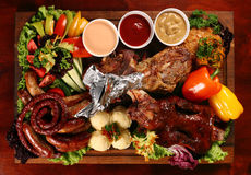 Grilled mix meat front Royalty Free Stock Photography
