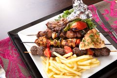Grilled mix meat with vegetable royalty free stock photo