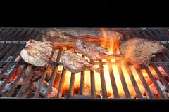 Grilled Mixed Meat. Grilled Mixed Meat on BBQ Flaming Grill Stock Images