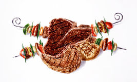 Grilled mixed steaks and skewers composition. Airbrush illustration. Stock Photos