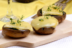 Grilled mushroom with cheese Royalty Free Stock Photography