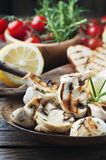 Grilled mushroom with lemon and rosemary Royalty Free Stock Photos