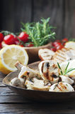 Grilled mushroom with lemon and rosemary Stock Image