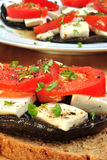 Grilled mushroom with organic goat cheese Royalty Free Stock Image