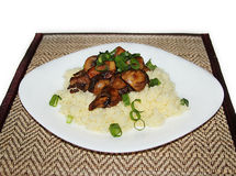Grilled mushrooms with couscous Stock Images