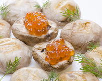 Grilled mushrooms with red caviar Stock Images