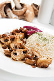 Grilled mushrooms with rice Stock Photo