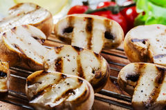 Grilled mushrooms royalty free stock images