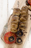 Grilled mushrooms on a skewer Royalty Free Stock Image