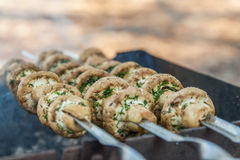Grilled mushrooms on skewers cooked in a brazier, close-up, retr Royalty Free Stock Photo