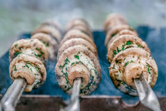 Grilled mushrooms on skewers cooked in a brazier, close-up, retr Stock Image