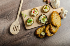 Grilled mushrooms stuffed cheese and chilli Stock Photography