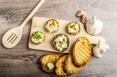 Grilled mushrooms stuffed cheese and chilli Royalty Free Stock Photo