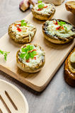 Grilled mushrooms stuffed cheese and chilli Royalty Free Stock Image