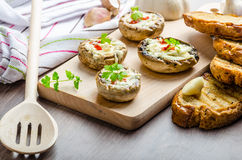 Grilled mushrooms stuffed cheese and chilli Royalty Free Stock Photos