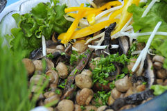Grilled Mushrooms With Garnish Stock Photo