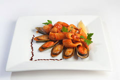 Grilled mussels on white Royalty Free Stock Photos