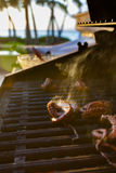 Grilled octopus during a Hawaiian sunset. Octopus on the grill for upcoming Hawaiian dinner Stock Photography