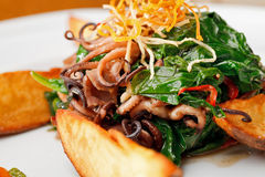 Grilled octopus and spinach Royalty Free Stock Image