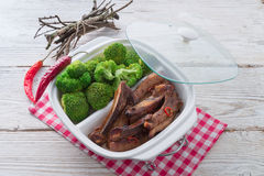 Grilled ones rib with broccoli Royalty Free Stock Photos