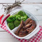Grilled ones rib with broccoli Stock Photo