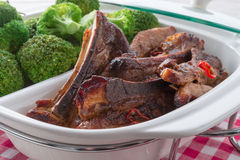 Grilled ones rib with broccoli Stock Image