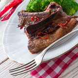 Grilled ones rib with broccoli Royalty Free Stock Images