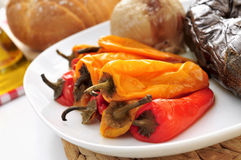 Grilled onion, eggplant and peppers Stock Images