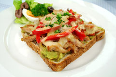 Grilled Open Chicken Sandwich Stock Photography