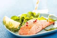 Grilled or oven-baked salmon fillet Royalty Free Stock Photography