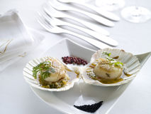 Grilled oyster with  coriander sauce Royalty Free Stock Photography